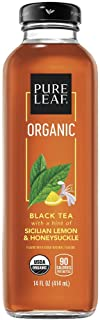 Pure Leaf, Organic Iced Tea, Sicilian Lemon & Honeysuckle, 14oz Bottles (Pack of 8) (Packaging May Vary)