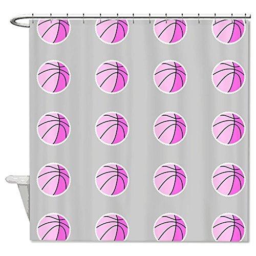 Rioengnakg Duschvorhang, Basketball-Muster, wasserdicht, Polyester, Pink, Polyester, 1, 66