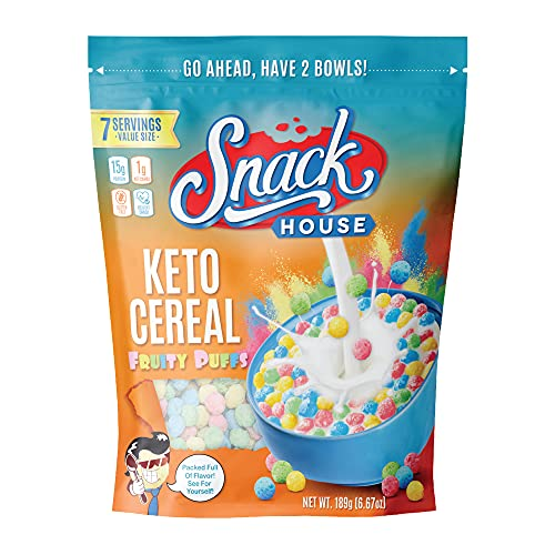 Keto Cereal by Snacks House, High Protein Low Carb Healthy Breakfast Food – Gluten & Grain Free Crunch – Paleo, Diabetic, Ketogenic Diet Friendly Cereals – 7 Serving Bag (Fruity Puffs)