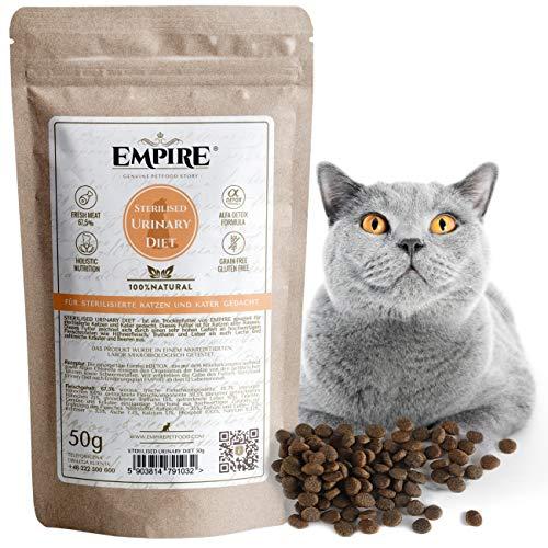 Empire Trockenes Katzenfutter | 50g | Premium Getreidefreies Trockenfutter für Sterilisierte Katzen | hoher Fleischgehalt | 100% Natürlich & Glutenfrei | GVOFrei