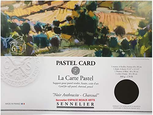 Tarjeta Sennelier Pastel Sec (Papel de lija de grano fino) Bolsa 30x40cm 6 hojas Negro oscuro 360gs