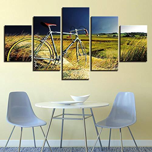 LOVELYJ Leinwanddrucke Leinwand Gemälde Home Wandkunst Dekor Hd Drucke Modulare Bilder 5 Stücke Vintage Fahrrad Im Wachstum des Grases Poster-Mit Rahmen
