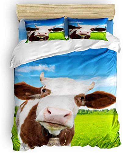 Duvet Cover Set, 3 Piece Farmhouse Animals Cow Bedding Set - 1 Quilt Cover 2 Pillow Cases for Childrens/Kids/Teens/Adults, Blue Green