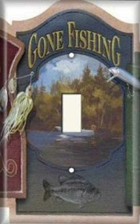 Decorative Light Switch Plate Cover Gone Fishing