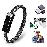 WLWLEO Cable de Carga de Pulsera Summer Jewelry Creative Bangle Cables de Datos Cable USB Tipo C Cordón de Pulsera de Carga rápida Trenzada de Cuero portátil 2 en 1 con Caja de Regalo,For Type c,20CM