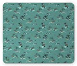 Drempad Gaming Mauspads, Coconut Mouse Pad, Tropic Palm Trees in Grunge Murky Style Island Ocean Beach Holiday Graphic, Standard Size Rectangle Non-Slip Rubber Mousepad, Teal Black Caramel