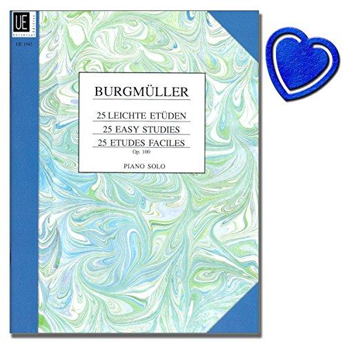 Frédéric Burgmüller: 25 leichte Etüden für Klavier op. 100 - mit Fingersatz versehen unter besonderer Berücksichtigung auf kleine Hände - beliebtes Unterrichtswerk - mit herzförmiger Notenklammer