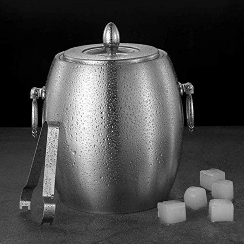 XZHSA Ice Bucket,Insulated Stainless Steel Double Walled Ice Bucket with Lid,Stainless Steel Ice Tongs (Color : 2L)