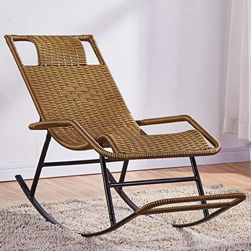 Sedia a dondolo per esterno, sedia relax, sedia in vimini reclinabile in metallo, sedia per il tempo libero fatta a mano,...