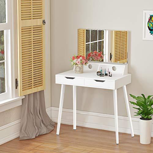 Panana - Tocador Blanco Moderno de Madera con Espejo Grande y 2 Cajones Usar como Escritorio