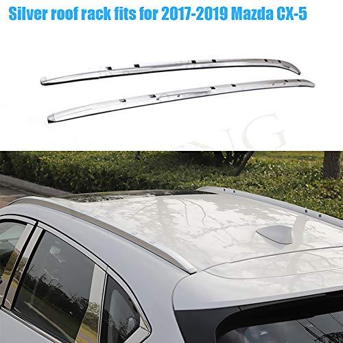LAFENG Baca plateada para techo 2017-2019 Mazda CX-5 2pcs aleación de aluminio portaequipajes portaequipajes rieles de techo