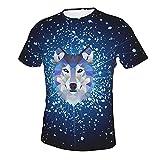 ABCEEEK Galaxy Wolf - Camiseta de manga corta con cuello redondo para hombre