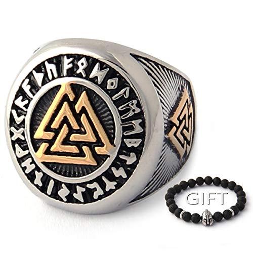 ENXICO Tripple Valknut Ring with Rune Circle Symbol 316L Stainless Steel Norse Scandinavian Viking Jewelry (10)