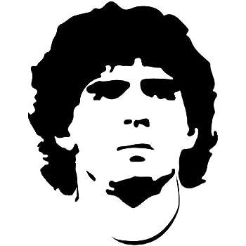 Nero Opaco, Picccolo 10 * 7,8 cm Galuisi Adesivo Sticker Maradona Diego Armando Napoli D10S prespaziato