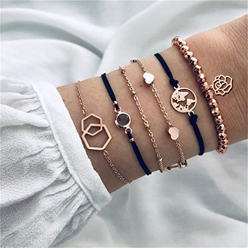 Eleusine 6Pcs/ Set Bohemian Rose Beading Maps Love Wristband Weave Multilayer Bracelet Set Women Bracelet Jewelry Gift