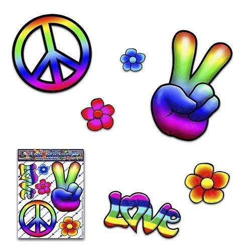 JAS Stickers® Regenbogen Hippie Frieden Lustiger Autoaufkleber - 60er Jahre Blumen lieben klein Vinyl-Aufkleberpackung für Laptop-Gepäck Fahrrad-Wohnwagen, Wohnmobile, Lastwagen, Boote - ST00007_SML