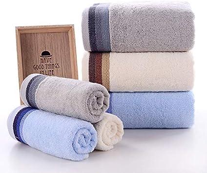 Ruimcc Towels - Juego de Toallas Premium - Toallas Grandes, 100% algodón, 3Pieza Juego Toallas - Hoja de baño de Lujo hogar, los baños, la Piscina y el Gimnasio Algodón de Anillos (Blanco, azul, gris)