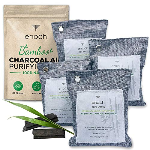 Enoch Bamboo Charcoal Air Purifying Bags (4 Packs) Activated Odor Moisture Absorber, Natural Air Freshener. Air Deodorizer Dehumidifier Bags for Homes, Cars, Shoes, Fridges, Closets (4x200g)