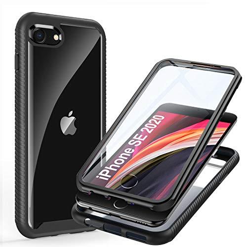 ivencase Cover iPhone SE 2020/7/ 8, 360 Gradi Full Body Protezione Schermo Custodia Antiurto Trasparente Case con Protezione dello Schermo per iPhone SE 2020/7/ 8-Nero