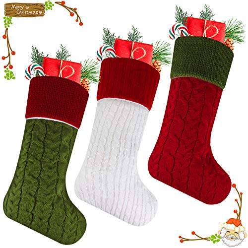 Libay Knit Christmas Stockings, 3 Pack 18&Quot; Large Size Cable Knit Knitted Xmas Stockings For Christmas Decorations And Family Holiday Season Decor (White/Red/Green)