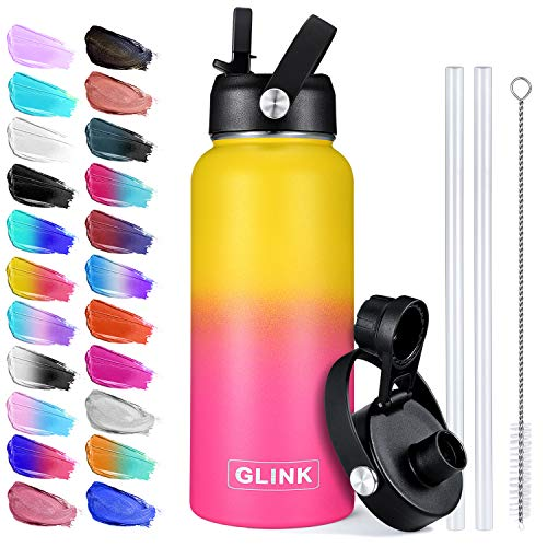 Glink Water Bottle with Straw - 32 oz, 2 Lids (Straw Lid & Spout Lid) with New Flexible Strap, Vacuum Insulated Stainless Steel, Modern Double Walled, Simple Thermos Mug, Hydro Metal Flask - Nectarine