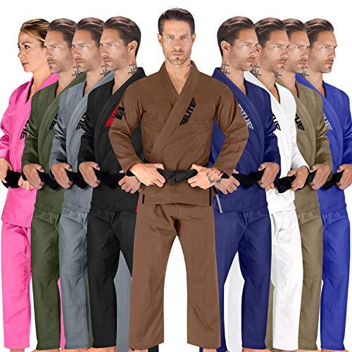 Elite Sports BJJ GI for Men IBJJF Kimono BJJ Jiujitsu GIS W/Preshrunk Fabric & Free Belt (See Special Sizing Guide) (Brown, Size 3)