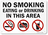 'No Smoking, Eating Or Drinking In This Area' Sign By SmartSign   10' x 14' Plastic