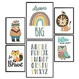 Pandawal Waldtiere Poster Regenbogen ABC Bilder Kinderzimmer Deko Junge Mädchen 6er Set für Kinder Indianer DIN A4 & A3 Wandbilder ohne Bilderrahmen