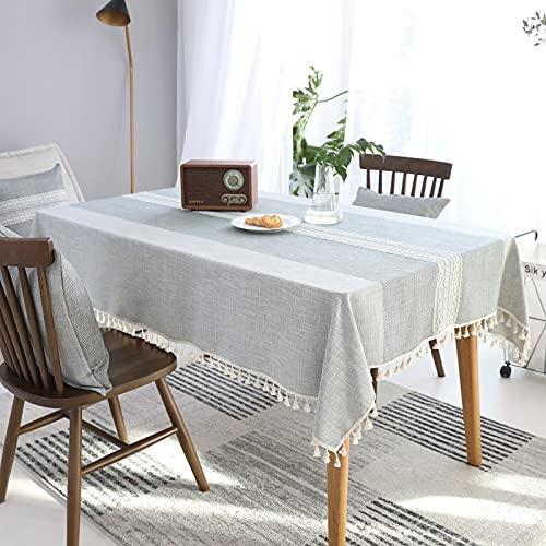 VIVILINEN Mantel Rectángulo Mantel de Lino de algodón, Borla de Costura Cuadrada Diseño Manteles rectangulares Manteles Lavables para Mesa de Comedor de Cocina (Gris, 140x180cm)