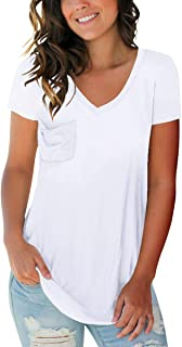 Womens V Neck Shirts Short Sleeve Casual Tunic Summer Tops