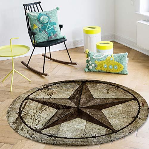 Beauty Decor IndoorAreaRug West Texas Star On Vintage Old Wooden Texture SuperSoft,Durable,NonSlip,RoundAreaCarpetforLivingRoom,Bedroom,DiningRoom 4ft