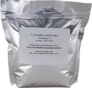 Duda Energy asc2 Bag of L-Ascorbic Acid Powder, 2 lb, 99+% Food Grade USP36/BP2012 Naturally Fermented Pure White Crystals Form of Vitamin C