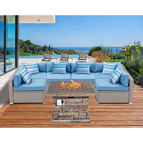 SUNBURY Outdoor Sectional 7-Piece Pearl Gray Wicker Sofa Patio Furniture Set w 35-inch 50,000 BTU Square Stone-Crest Fire Pit Table, 6 Stripe Pillows, Denim Blue Cushions, Weatherproof Cover