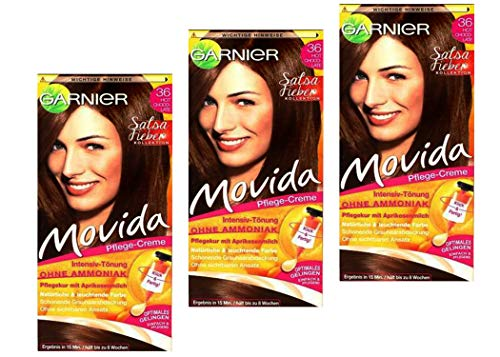 3x Garnier Movida Pflege-Creme Intensiv-Tönung, 36 Hot Chocolate ohne Ammoniak, (3er Pack)