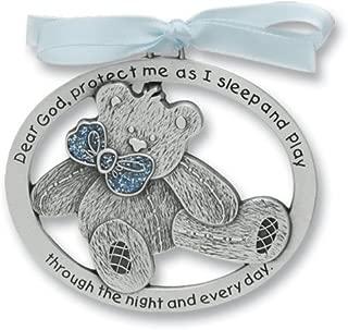 Sweet Teddy Bear Crib Medal for Baby Boy Crib Medal with Verse 2-1/2 Pewter Finish - Christening/Shower Gift/Baptism Keepsake/with Blue Ribbon- Infant - Newborn