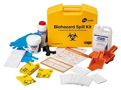 GV Health - Kit de emergencia ante derrames de materiales con riesgos biológicos y fluidos corporales (10 unidades)