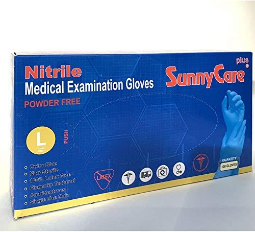 SunnyCare Plus Nitrile Medical Exam Gloves Powder Free 100 pcs/per Box (Large)