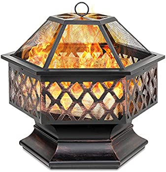 Best Choice Products Hex-Shaped 24in Steel Fire Pit with Mesh Lid