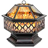 Best Choice Products 24in Hex-Shaped Steel Fire Pit for Garden, Backyard, Poolside w/Flame-Retardant Mesh Lid