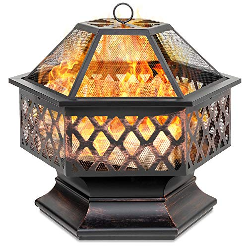 Best Choice Products 24in Hex-Shaped Steel Fire Pit for Garden,...