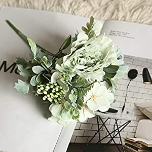 Artificial and Dried Flower 1 Bouquet Camellia Artificial Peony Rose Flowers Silk Fake Flores Wedding Flower Home Party Decoration – ( Color: GR )