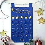 Aparty4u Ramadan-Kalender 2019 aus Filz, 30 Tage Eid-Countdown, mit Sternendesign, für Kinder, Ramadan-Geschenke, Wanddeko, Blau