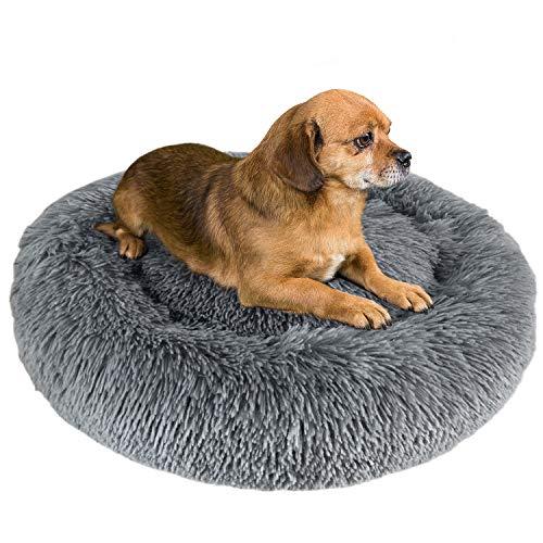 Granbest Luxus Plüsch Hundebett Katzenbett Rund Hundekissen Super Weich Doughnut-Form Haustierbett für kleine mittelgroße Hunde Kunstpelz Haustierbett Maschinenwaschbar (60cm, Hellgrau)