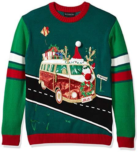 Blizzard Bay Men's Ugly Christmas Sweater Santa, Green Combo, Large