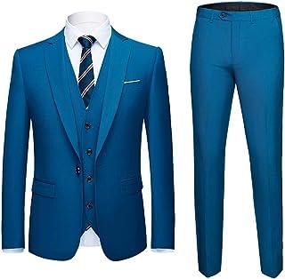 739271c39ca0 MAGE MALE Mens Solid 3-Piece Suit Slim Fit Notch Lapel One Button Tuxedo  Blazer