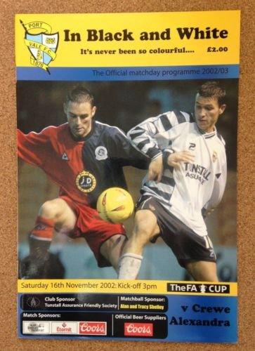 Port Vale Crewe Alexandra 16/11/02 In Black & White football programme (GR1)
