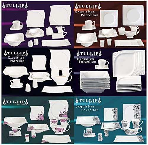 MODERNES Geschirr Set | 43 TLG Geschirr Tafelservice Kaffeeservice Kombiservice Porzellan 6 Personen | Denise Grau |