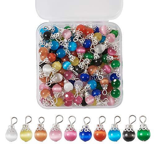 100 stks/doos Cat Eye Drop kralen 10 kleuren bengelen charme hangers met kraal cap voor DIY sieraden maken