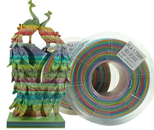 Stronghero3d desktop fdm 3d drucker filament pla regenbogen mehrfarbig 1.75mm 1kg (2.2 lbs) dimension genauigkeit von +/-0.05mm