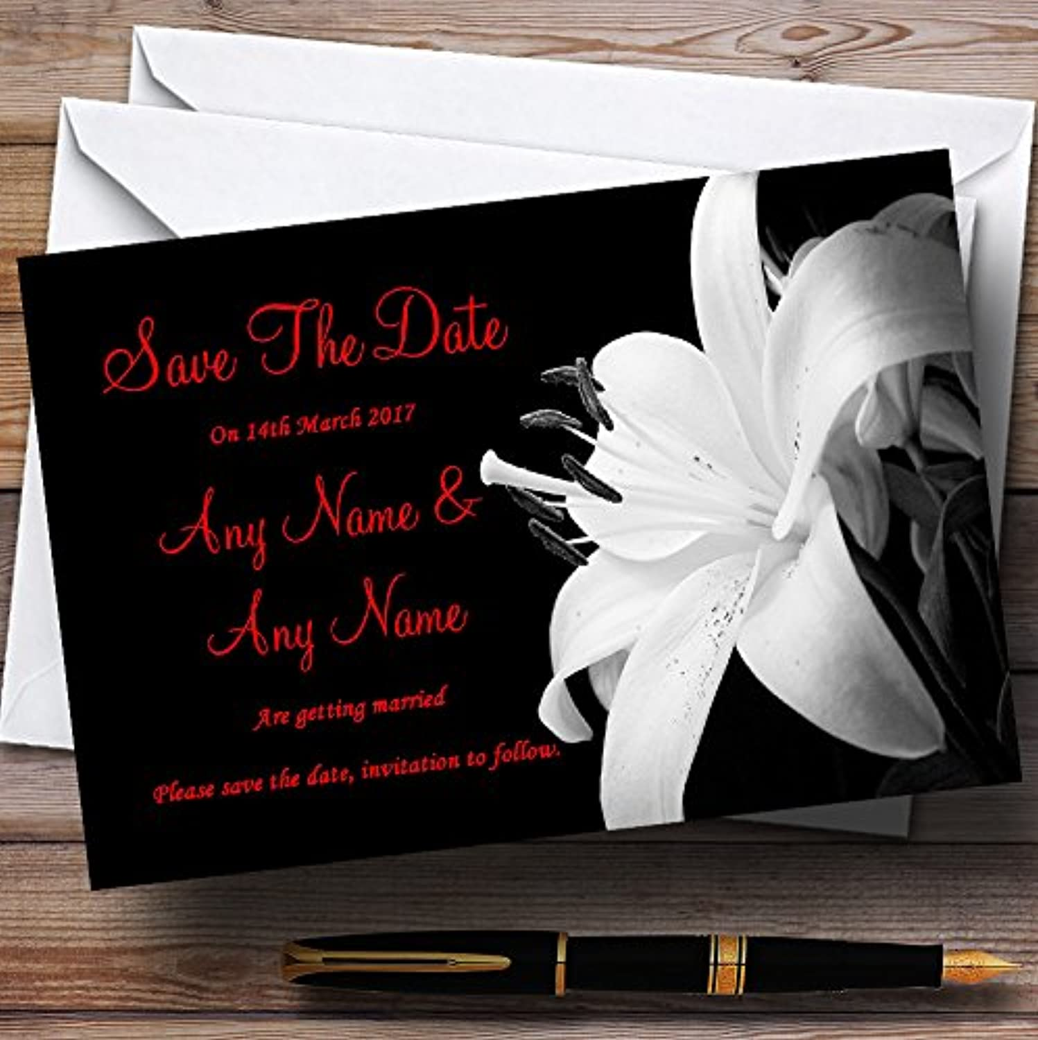 Stunning Lily Flower Black White Red Personalised Wedding Stationery Save The Date Cards